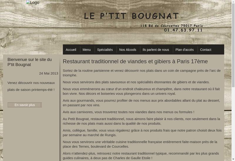 Capture d'écran du site de Le Petit Bougnat