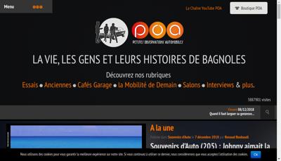 Capture d'écran du site de Petites Observations Automobiles