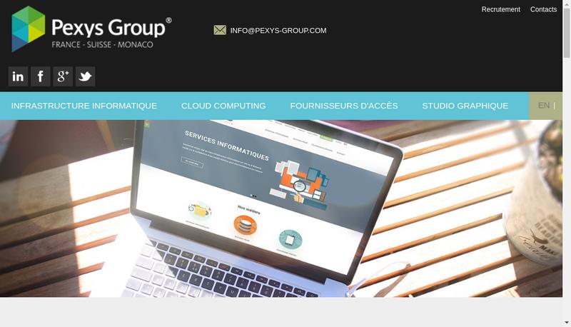 Capture d'écran du site de Pexys Group