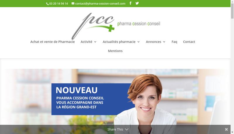 Capture d'écran du site de Pharma Cession Conseil