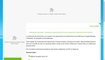 Capture d'écran du site de Pharmacie les Marronniers