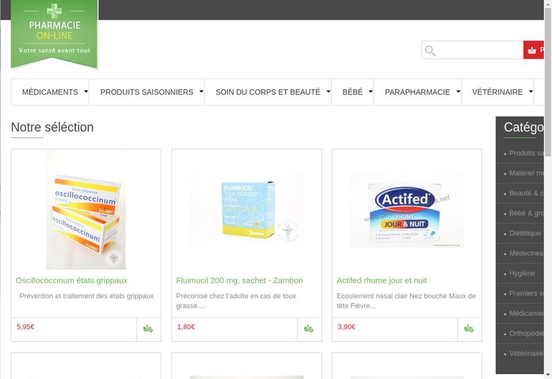 Capture d'écran du site de Pharmacie des Coquillages