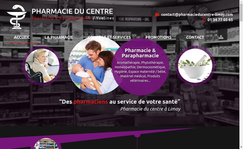 Capture d'écran du site de Pharmacie du Centre