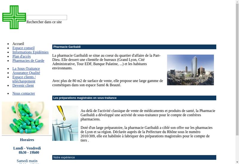 Capture d'écran du site de Pharmacie Garibaldi
