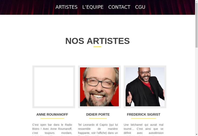 Capture d'écran du site de Vaillant Spectacles