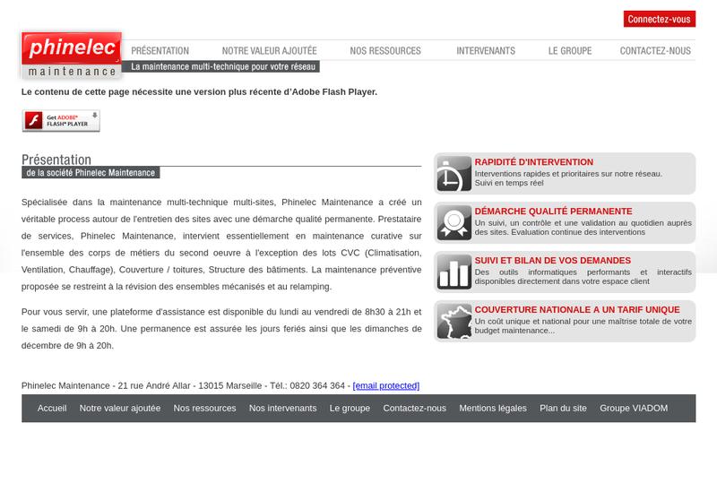 Capture d'écran du site de Btob Maintenance