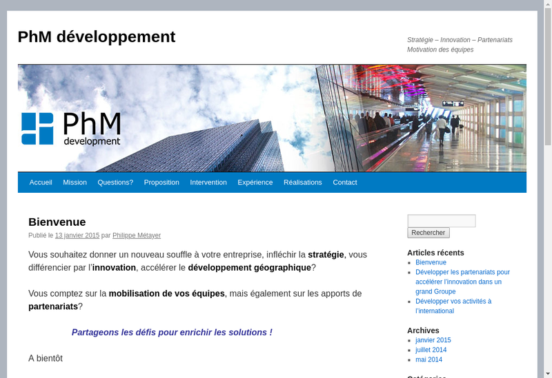 Capture d'écran du site de Phm Developpement