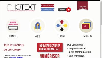 Capture d'écran du site de Photext