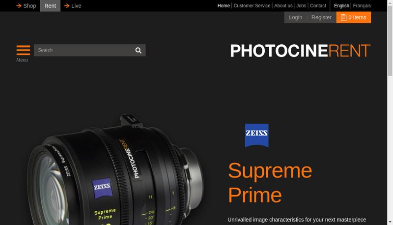 Capture d'écran du site de Photocinerent