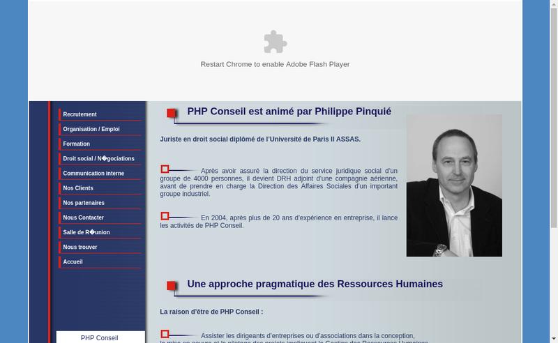 Capture d'écran du site de Php Conseil