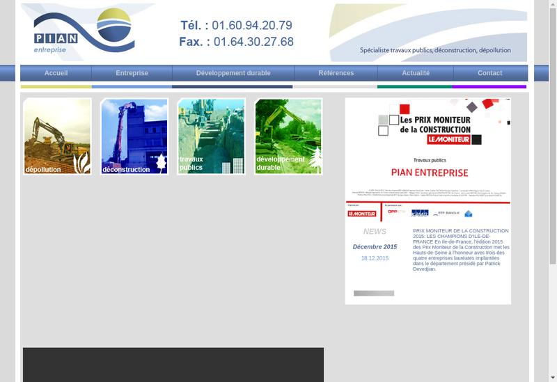 Capture d'écran du site de Pian Entreprise