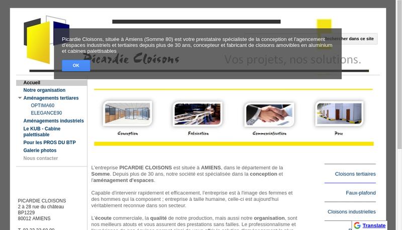Capture d'écran du site de Picardie Cloisons