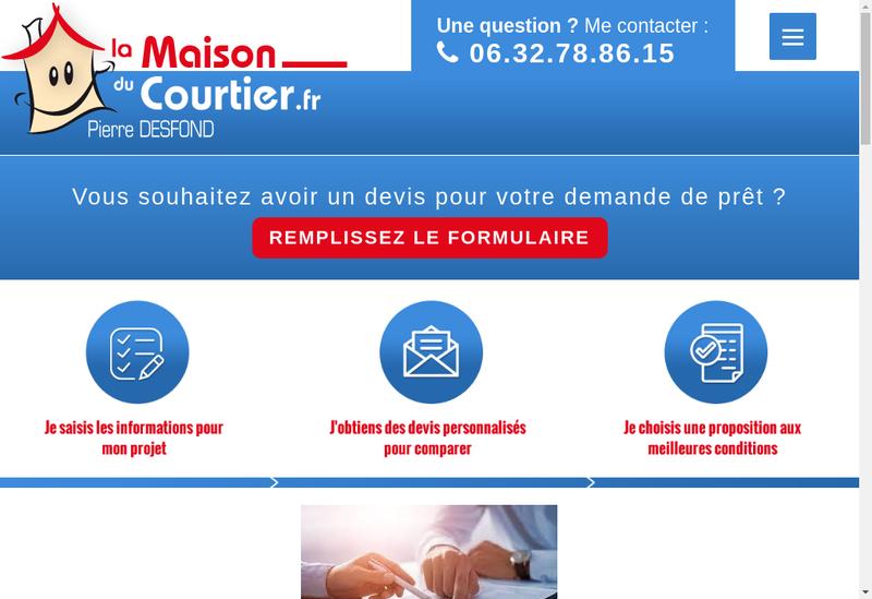 Capture d'écran du site de SAS Pierre Desfond Courtier Pret Immob