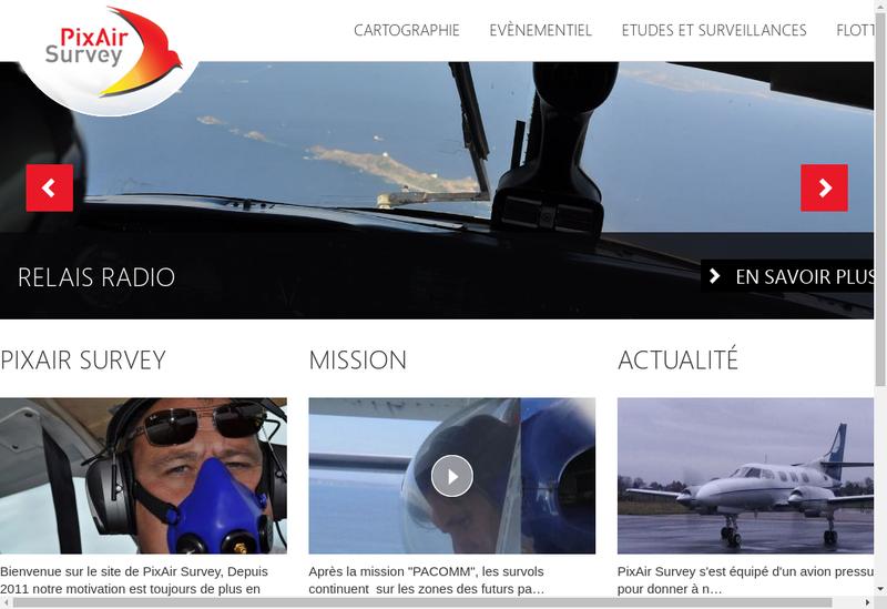 Capture d'écran du site de Pixair Survey