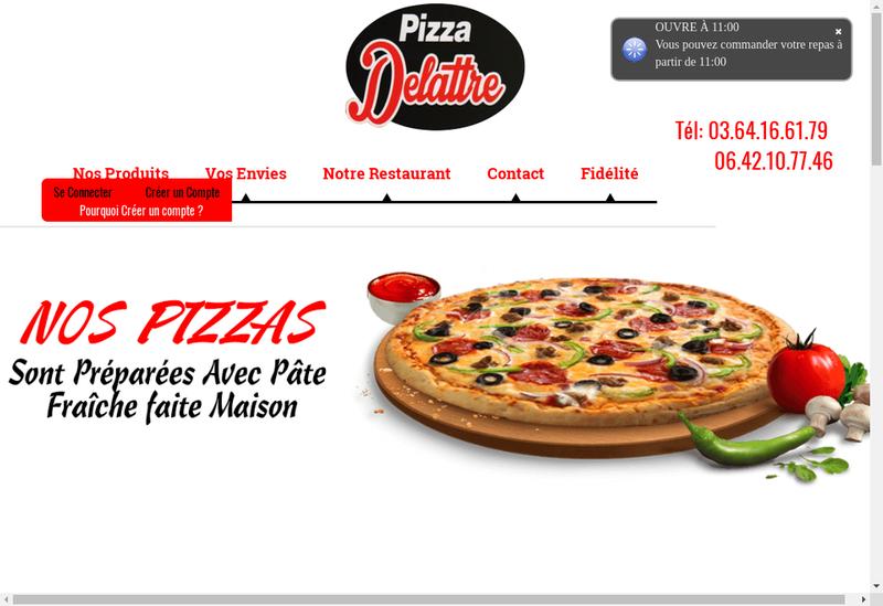 Capture d'écran du site de Pizza Delattre