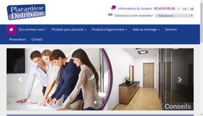 Capture d'écran du site de Placardecor Distribution