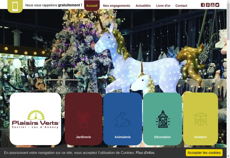 Capture d'écran du site de Plaisirs Verts