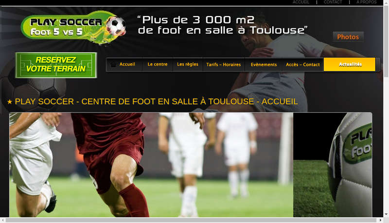Capture d'écran du site de Play Soccer