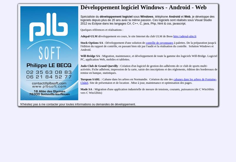 Capture d'écran du site de Plbsoft