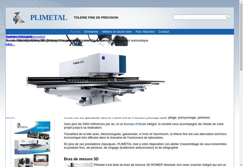 Capture d'écran du site de Plimetal SARL