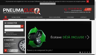 Capture d'écran du site de Pneumaclic