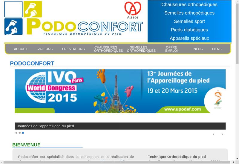 Capture d'écran du site de Podo Confort