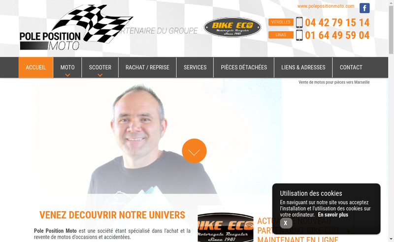 Capture d'écran du site de Pole Position Moto