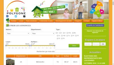 Capture d'écran du site de Polygone Midi Pyrenees