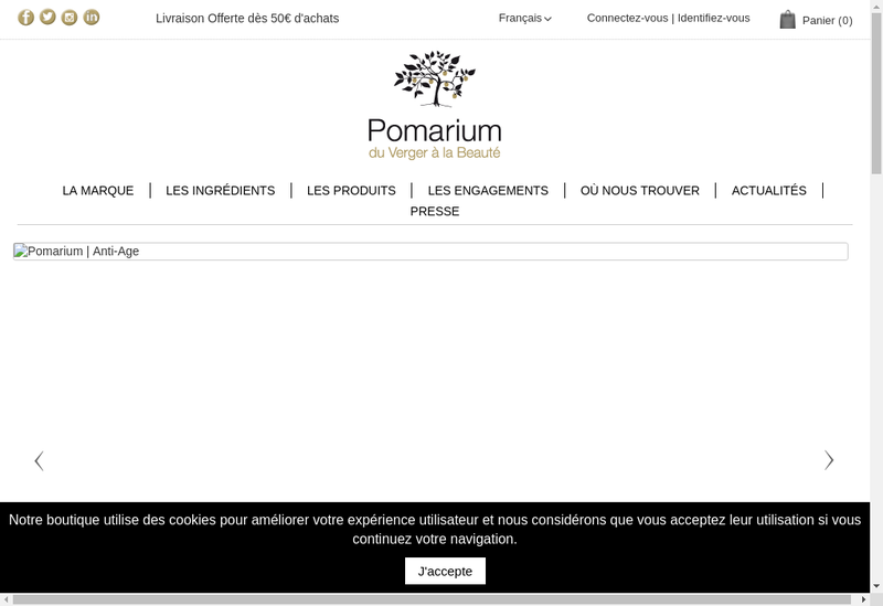Capture d'écran du site de Pomarium