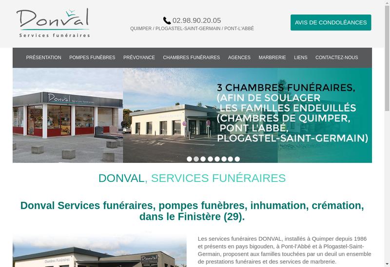 Capture d'écran du site de Donval Pompes Funebres