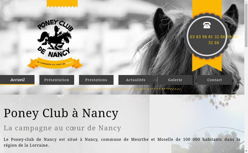 Capture d'écran du site de Poney Club de Nancy
