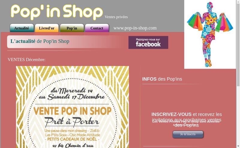 Capture d'écran du site de Pop in Shop