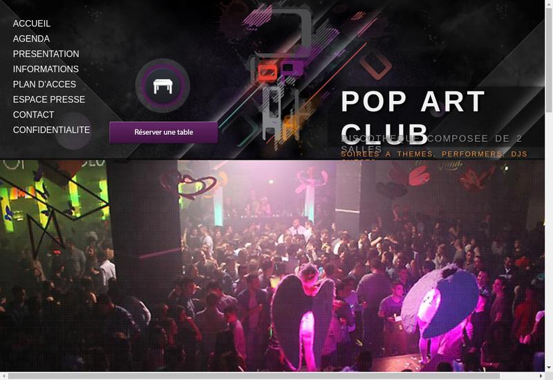 Capture d'écran du site de Pop Art Club