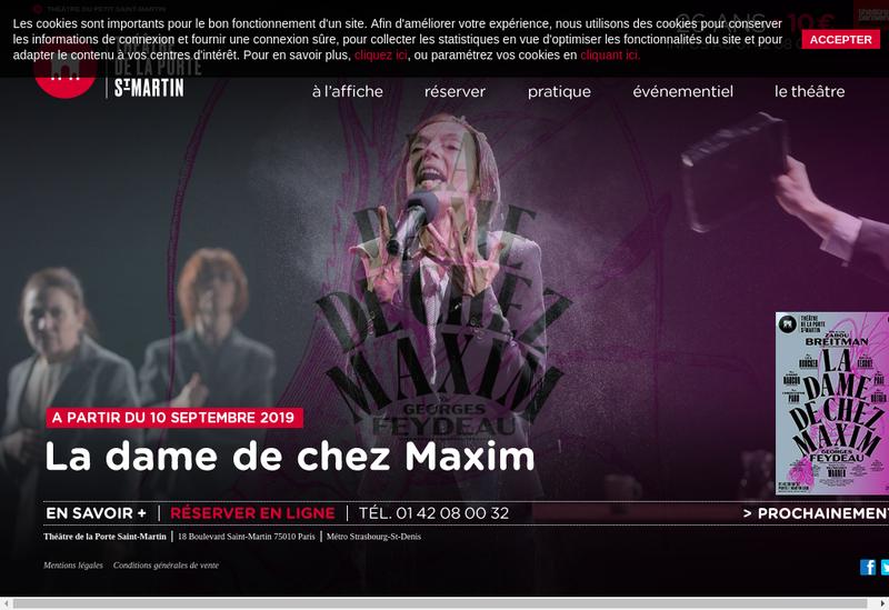 Capture d'écran du site de Theatre de la Porte Saint Martin