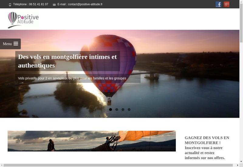 Capture d'écran du site de Positive Altitude