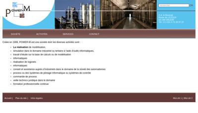 Capture d'écran du site de Power M