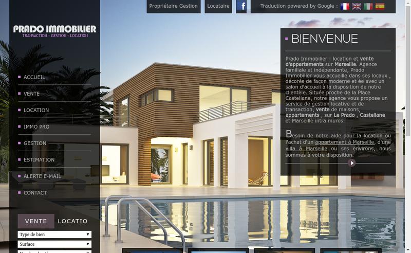 Capture d'écran du site de Prado Immobilier