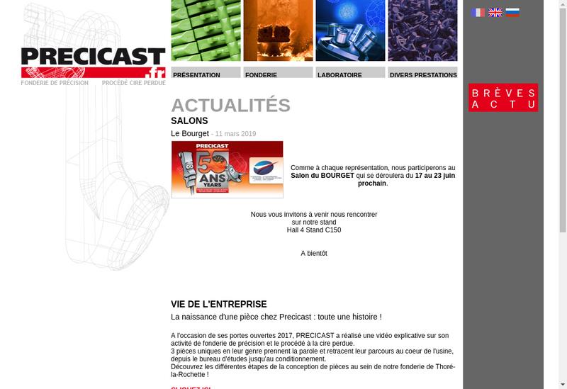 Capture d'écran du site de Precicast SA