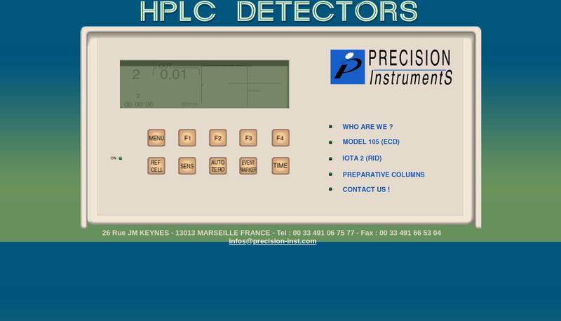 Capture d'écran du site de Precision Instruments