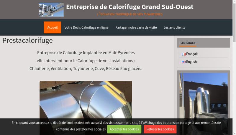 Capture d'écran du site de Prestacalorifuge