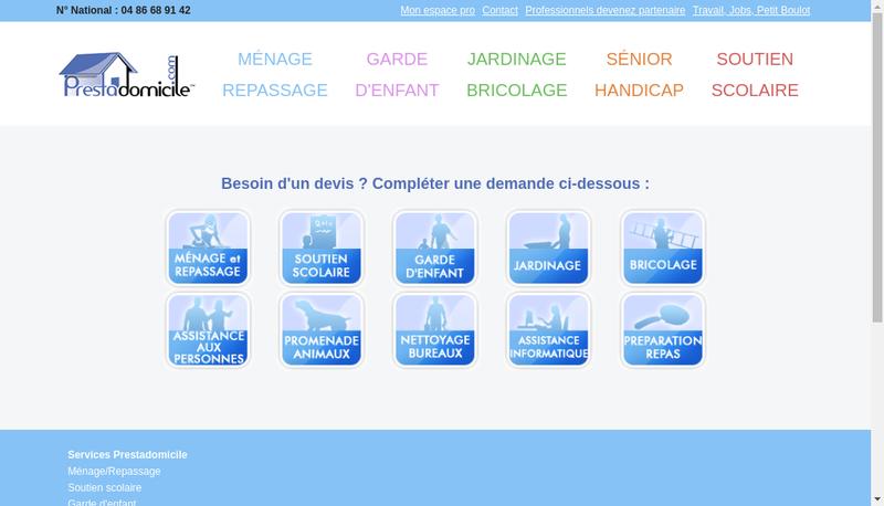 Capture d'écran du site de Prestadomicile Services