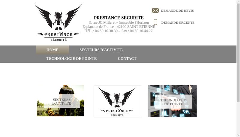 Capture d'écran du site de Prestance Securite