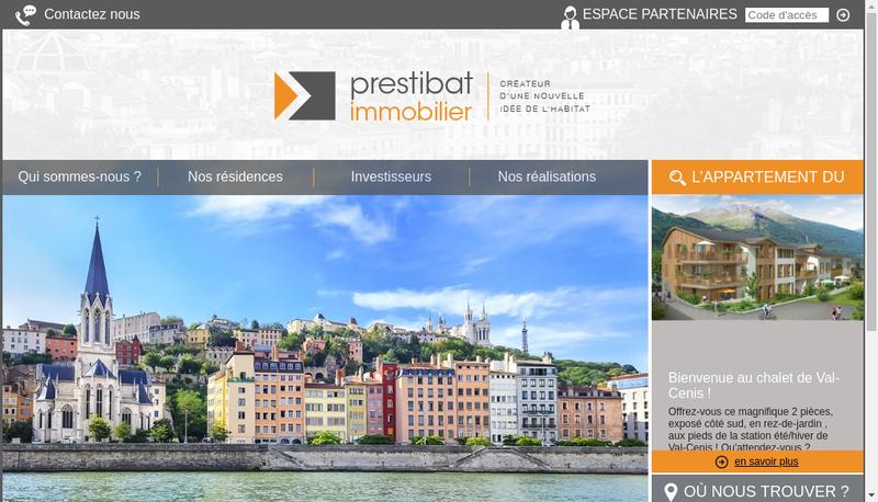 Capture d'écran du site de Prestibat Immobilier