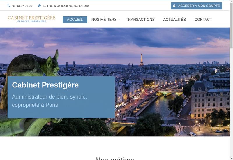 Capture d'écran du site de Prestigere
