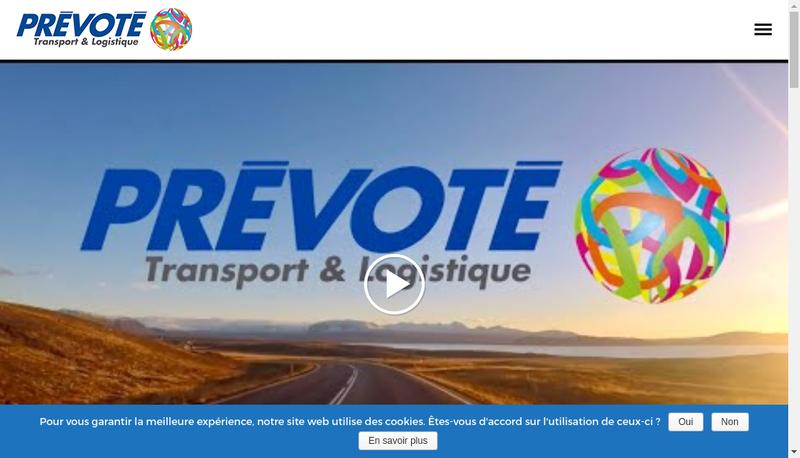 Capture d'écran du site de Transports Prevote