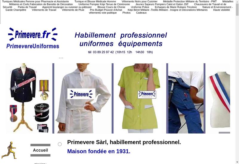Capture d'écran du site de Primevere SARL