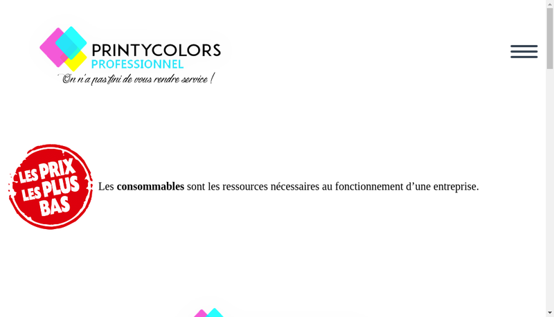 Capture d'écran du site de Printycolors