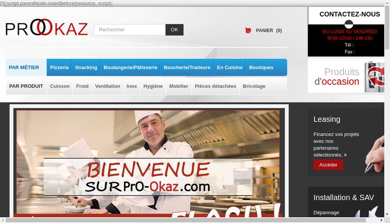 Capture d'écran du site de Prookaz