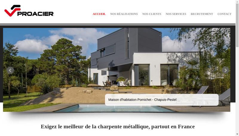 Capture d'écran du site de Proacier