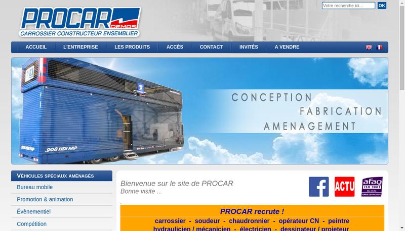 Capture d'écran du site de Procar-Demas